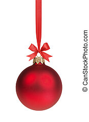 red christmas ball hanging on ribbon with bow, isolated on...