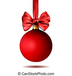 red christmas ball hanging on ribbon with bow, isolated on white