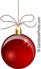Red Christmas ball hanging on the string