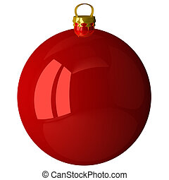 Red shiny Christmas ball isolated on white