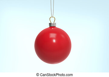 Red Christmas ball on a blue background