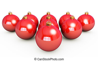 Red Christmas ball on a white background 3d render