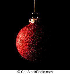 Red Christmas Ball on Black Background. Greeting Card - Red...