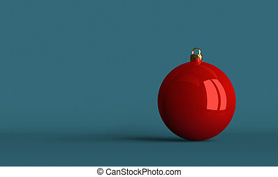 Red Christmas ball on bluish background - Red Christmas ball...