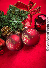 Red christmas ball on red background