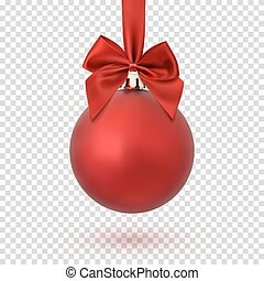 Red Christmas Ball On Transparent Background