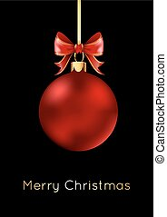 Red Christmas ball with a bow, isolated on black background.