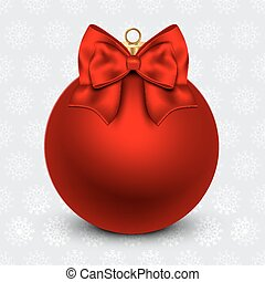 Red Christmas ball with a bow, on holiday background