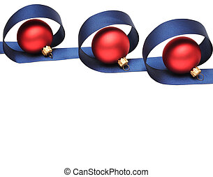 red christmas ball with blue ribbon