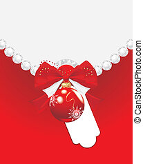 Red Christmas ball with bow. Card