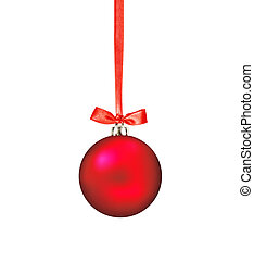 Red Christmas ball with bow isolated on white background