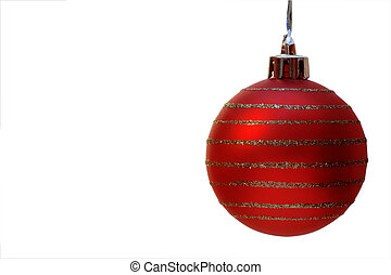 red christmas ball with clipping path