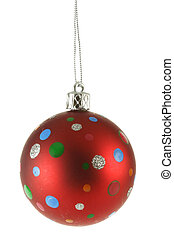 Red Christmas ball with colorful spots