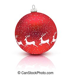 Red Christmas ball with deer isolated on white