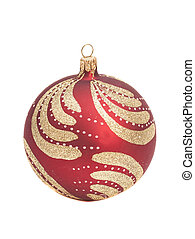 Red christmas ball with glitter on white background