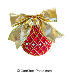 Red Christmas ball with golden bow