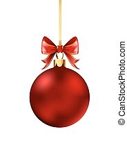 Red Christmas ball with ribbon and a bow