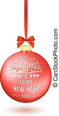 Red Christmas ball with ribbon and a bow,