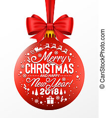 Red Christmas ball with ribbon and a bow, isolated on white background.