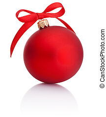 Red Christmas ball with ribbon bow Isolated on white background
