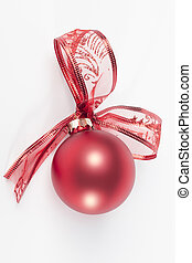 Red christmas ball with ribbon bow white background