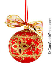 Red Christmas ball with ribbon isolated on white background