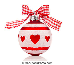 red Christmas ball with ribbon, on white background
