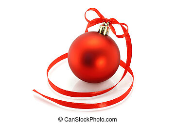 Red Christmas ball with ribbon on white background