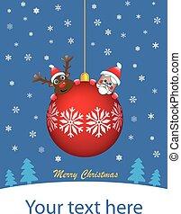 Red Christmas ball with santa and r