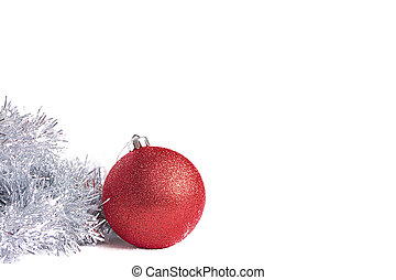 Red christmas ball with silver tinsel