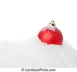 Red christmas ball with snow