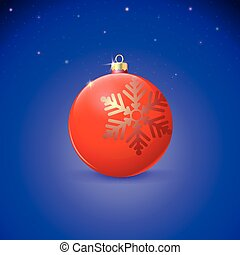 Red Christmas ball with snowflake over starry background.