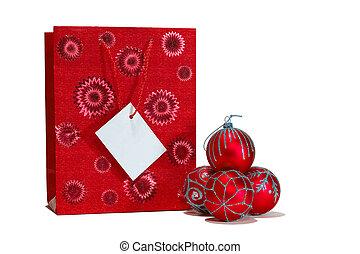 Red christmas balls and gift bag