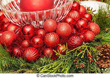 Red Christmas Balls and Glass Bowl