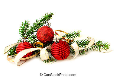 Red Christmas balls and green branch