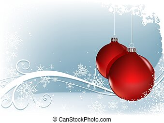 Red Christmas Balls - christmas background illustration