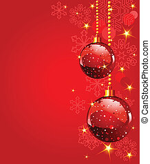 Red Christmas Balls - Red Christmas Balls on red snowing...