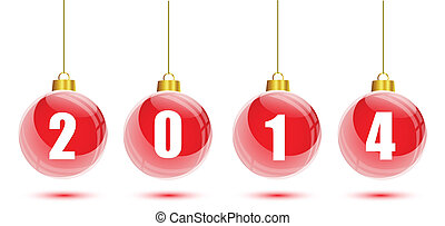 Red christmas balls hanging with 2014 numbers