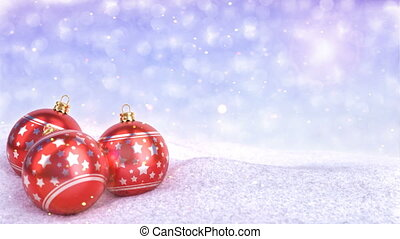 red christmas balls in snow on bokeh background - 3D render....