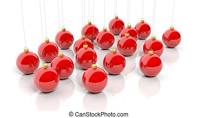 Red Christmas balls, isolated on white background.