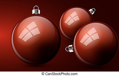 red christmas balls on a red background