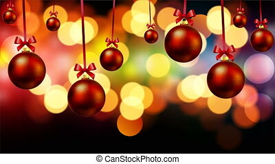red christmas balls on bokeh background