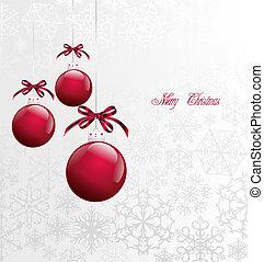 Red Christmas Balls on Christmas card. Vector