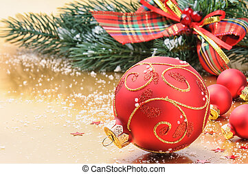 Red Christmas balls on festive background