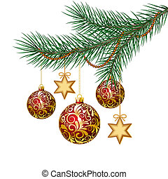 Red christmas balls on green spruce branch