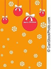 red christmas balls on orange background