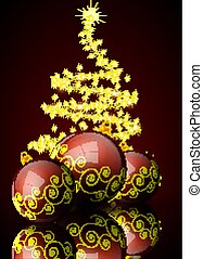 Red Christmas balls on the background of an abstract Christmas tree