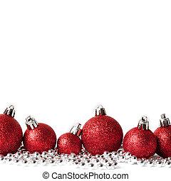 red christmas balls on white