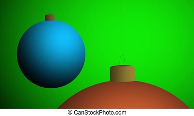 red christmas balls swing on a green background
