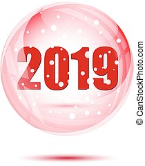Red christmas balls with 2019 numbers